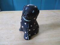 Vintage Chalkware or Plaster Polka-Dotted Black Dog Figure
