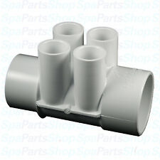 "Spa Hot Tub PVC Manifold 2"" S x SPG 3/4"" Ports Waterway 672-4200"