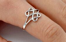 .925 Sterling Silver Ring size 8 Celtic Heart Irish Infinity Knot Love New p80