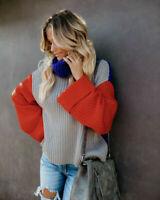 Women Patch Sleeve Knitted Pullover Sweater Turtleneck Long Tops Dress Knitwear