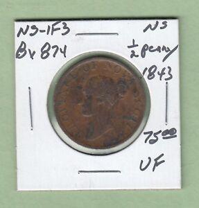 1843 Nova Scotia 1/2 Penny Token - NS-1F3 - VF