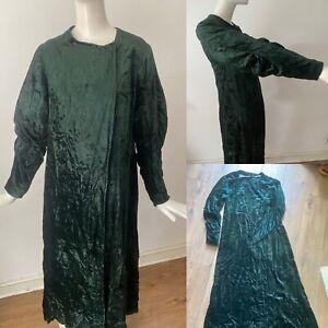 Antique 1920s Bottle Green Velvet Blouson Sleeve Evening Opera Duster Coat 8 36