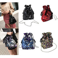 Fashion Women's Sequins Chain Shoulder Bucket Bag Crossbody Messenger Bag Hot