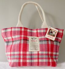 Avoca Ireland Dublin small tote bag red pink woven check 100% lambswool BNWT