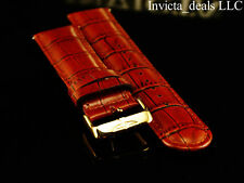 Invicta Lupah Genuine Leather 26mm Dark Reddish Brown Strap W/Silver Buckle
