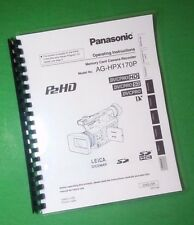 LASER PRINTED Panasonic AG-HPX170P Video Camera 128 Page Owners Manual Guide