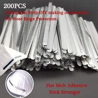200Pcs Aluminum Metal Bendable Twist Ties Bridge Nose Wires Adhesive Back 85x5mm