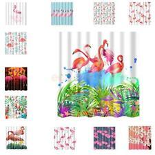 Fabric Waterproof Flamingo Bathroom Shower Curtain Divider With 12 Hooks Set