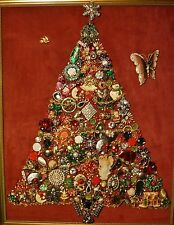 Jewelry Art Christmas Tree large sz, lovely Gold Estate Frame signed by Artist