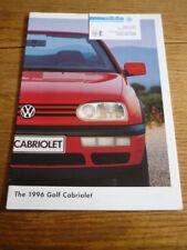 VW VOLKSWAGEN GOLF CABRIOLET CAR BROCHURE 1996