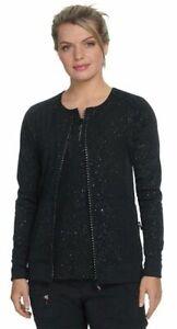 "Koi Scrubs #445 Crew-Neck Designer Scrub Jacket in ""Black Iridescent"" Size S"