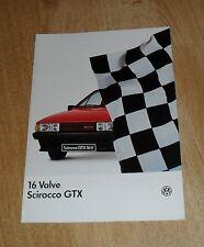 Volkswagen VW Scirocco GTX 16v Brochure 1985