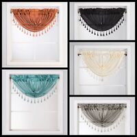 Swag Rod Pocket Window Curtain Valance Waterfall with Pearls on Tassels Kitchen
