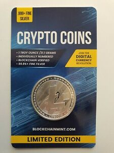 Litecoin 1oz .999 Silver Bullion Coin with Card ERROR 2020 Crypto Series Scarce