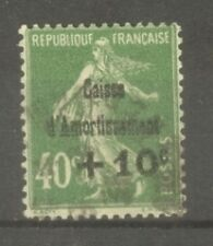 "FRANCE STAMP TIMBRE N° 253 "" CAISSE AMORTISSEMENT SEMEUSE 40c VERT"" OBLITERE TTB"