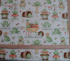 Cotton Fabric Debbie Mumm Hip Hop Garden Overall Frogs Mushroom Wheelbarrow BTY