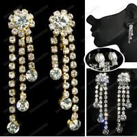 CLIP ON crystal 4cm CHANDELIER EARRINGS glass RHINESTONE silver/gold pltd CLIPS