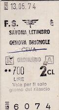 BIGLIETTO DEL TRENO CARTONATO 1974 SAVONA LETIMBRO GENOVA BRIGNOLE  8-181TRIS