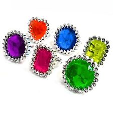 Pack of 6 Gem Rings - Fun Plastic Children's Toys Fillers Gifts