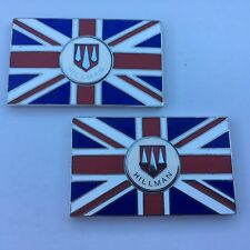 Pair of HILLMAN Union Jack GB Metal Enamel Classic Car Badges - Self Adhesive