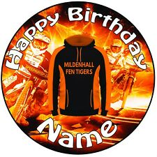 """Mildenhall Fen Tigers Speedway icing Cake Topper 8"""" (20cm) Circle ANY NAME & AGE"""