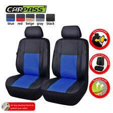 Hot Sale Universal PU Leather Two Front Black with Blue Car Seat Covers Set