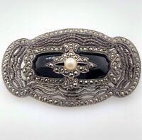 Antike Brosche aus 925er Silber mit einer Perle, Onyx und Markasite