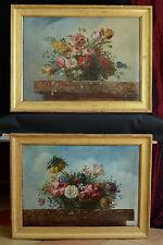 Paire De Grand Tableaux Bouquet De Fleurs Roses Dans Un Paysage 18ème Lyon rare