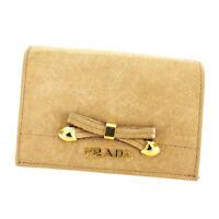 Prada Card Case Beige Woman Authentic Used T3404