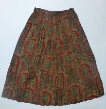 Talbots Womens Size 8 Red & Multi-Color Pleated Skirt Great Condition