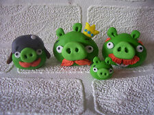 ANGRY BIRDS PIGS set of 4 edible cake cupcake 3-D decorations