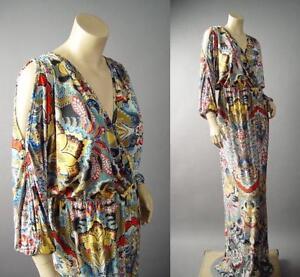 Sale Japanese Asian Print Kimono Caftan Wrap Long Maxi 142 mv Dress 1XL 2XL 3XL