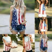 Women Summer Sleeveless Vest Patriotic Stripes Star American Flag Print Tank Top