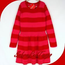 NWT HANNA ANDERSSON DROP WAIST SWEATER DRESS HANNA RED MULTI STRIPE 160 14 16