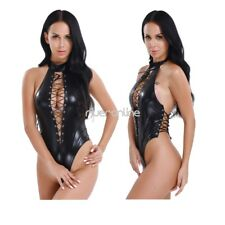 Black Women Sexy Leather Halloween Romper Leotard Clubwear Bodysuit Costume Hot