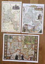 3 x Old Antique Colour maps of Oxfordshire, England: 1600's & 1800's: Reprint