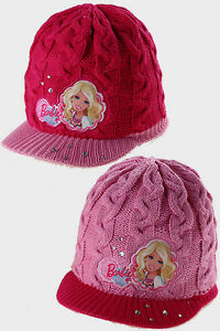 GIRLS BARBIE CABLE KNITTED FLEECE LINED WARM PEAK HAT WINTER PINK
