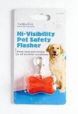 Pet Flashing Safety Light For Dog Collar Or Harness Bone Shape (Red) UK Seller