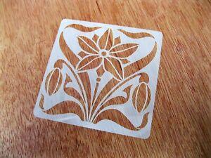 Art Nouveau Style Flower No.1 Tile Crafting Stencil 10cm or 15cm Reusable Mylar