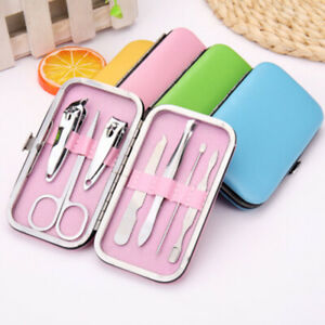 7Pcs Stainless Nail Clippers Kit Manicure Pedicure Set Cuticle Grooming Case