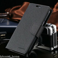 for iPhone 7 Genuine Mercury Goospery Black Flip Case Wallet Cover