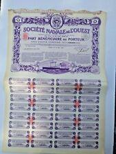 ANCIENNE ACTION - SOCIETE NAVALE DE L'OUEST 1923