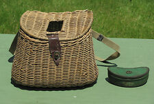 "Early Antique WICKER FISHING CREEL ""Hole In Center"" RARE!"