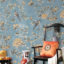 Chinese birds Flowers Floral Pastoralroom wallpaper backdrop hotels blue