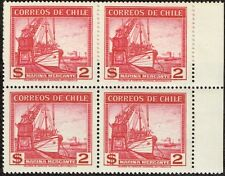 CHILE 1943 STAMP # 300 without wmk MNH BLOCK OF FOUR SHIP MARINA MERCANTE