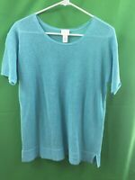 9127) CHICO'S  1 blue silver open holey knit pullover sweater short sleeve 1