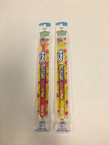( 2 ) Super Rare Oral B Elmo Sesame Street Soft  ToothBrush Red & Yellow