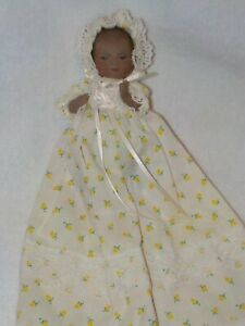 """Artist Made 5"""" All Bisque Black Bye Lo Baby Doll Dressed In Yellow Rose Bud Gown"""