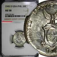 Philippines U.S. Administration Silver 1945 D 20 Centavos NGC AU58 KM#182
