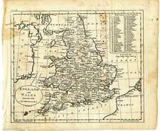 1796 John Russell Copper Engraving Map England Wales Handwritten Population